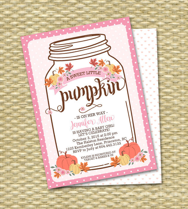 Baby Girl Little Pumpkin Baby Shower Invitation Mason Jar Fall Baby Shower Invite Fall Leaves Pumpkin Pink Flowers