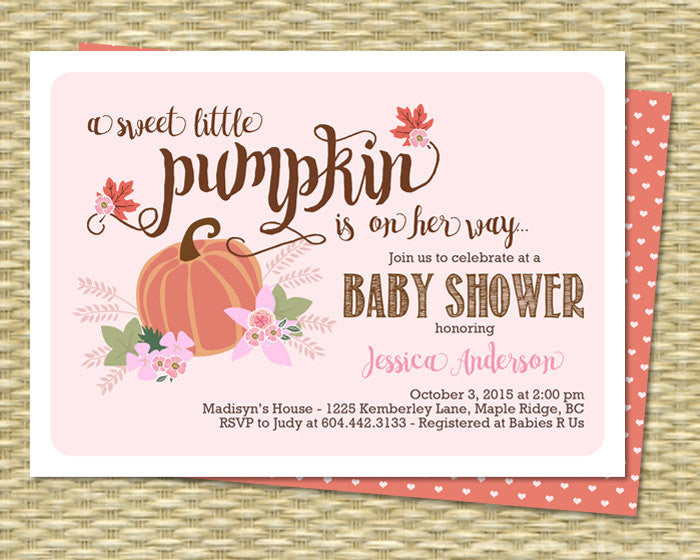 Little Pumpkin Baby Shower Invitation Baby Girl Fall Baby Shower Invite Fall Leaves Pink Peach Pumpkin Floral