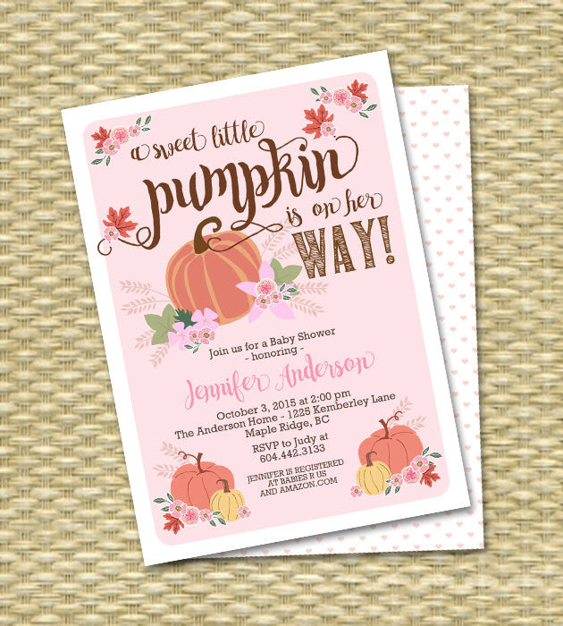 Little Pumpkin Fall Baby Shower Invitation Baby Girl Baby Shower Invitations Fall Leaves Pink Peach Pumpkin Floral