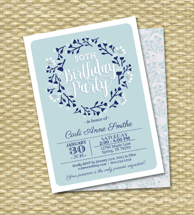 Winter Baby Shower Invitation Winter Wreath Folk Art Blue Light Blue Sip and See Diaper and Wipes Baby Sprinkle Gender Neutral