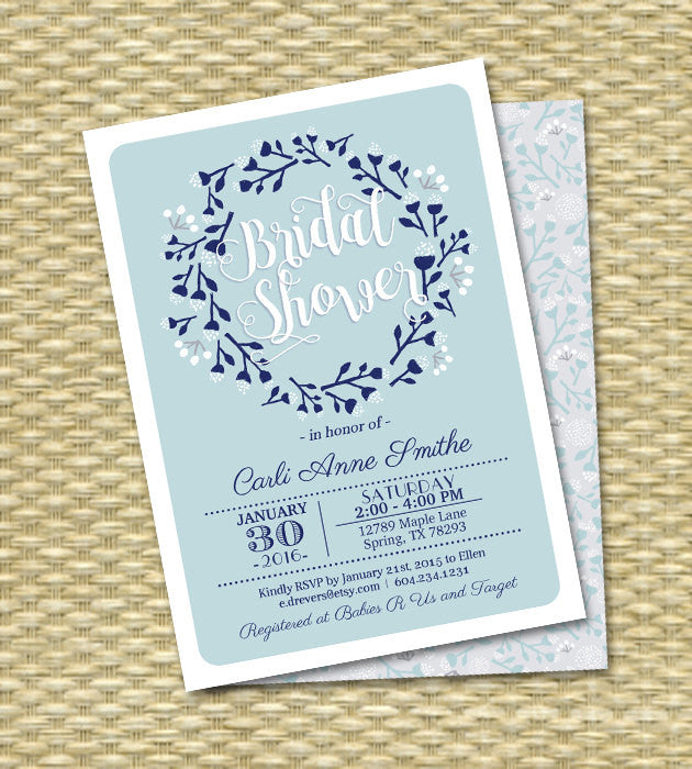 Winter Bridal Shower Invitation Winter Wreath Folk Art Blue Light Blue Couples Shower Wedding Shower Invitations