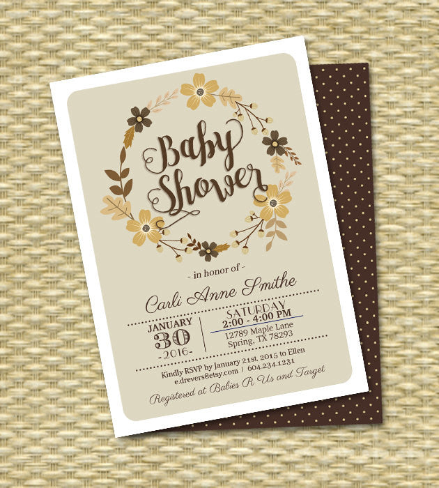 Fall Bridal Shower Invitation Fall Floral Wreath Typography Style Autumn Bridal Tea Couples Shower Wedding Shower Invitations