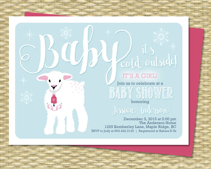 Baby It's Cold Outside Baby Shower Invitation Winter Baby Shower Invite Little Lamb Girl Baby Shower Sip and See Baby Sprinkle ANY EVENT