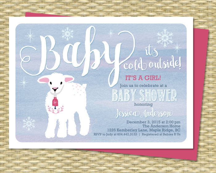 Winter Baby Shower Invitation Baby Girl Shower Invite Little Lamb Girl Baby Shower Sip and See Baby Sprinkle ANY EVENT