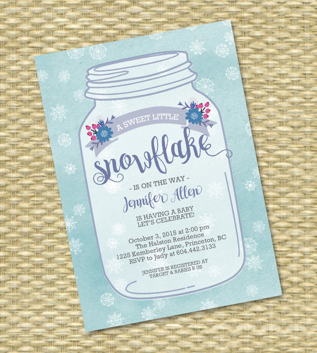 Baby Shower Invitation Winter Baby Shower Mason Jar Snowflake Watercolor Floral Winter Baby Shower Invite Sip & See Baby Sprinkle