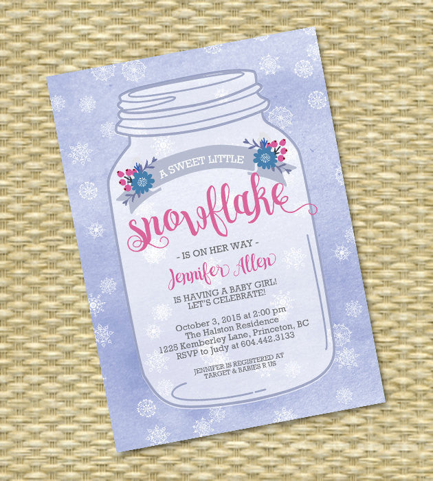 Baby Girl Shower Invitation Winter Baby Girl Shower Mason Jar Snowflake Watercolor Floral Winter Baby Shower Invite Sip & See Baby Sprinkle