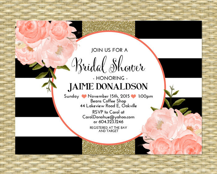 Bridal Shower Invitation Black White Stripes Floral Coral Gold Glitter Bridal Brunch Bridal Tea Birthday Invitation, Any Event, ANY COLORS