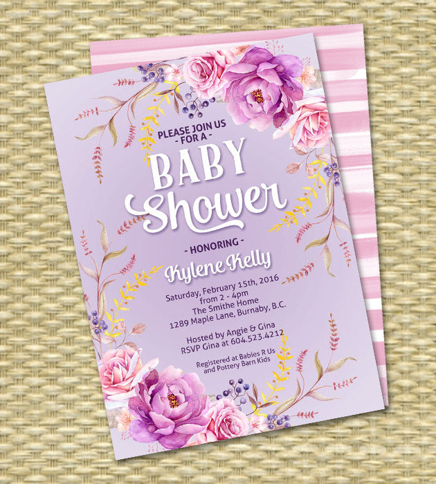 Boho Bridal Shower Invitation Bridal Tea Bridal Brunch Watercolour Floral Wildflowers Roses Lavender Pink ANY EVENT Any Colors