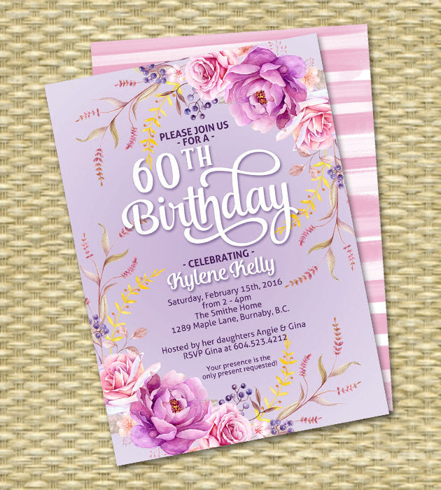 Birthday Invitation Adult Birthday Milestone Birthday Boho Style Watercolour Floral Wildflowers Roses Lavender Pink ANY EVENT Any Colors
