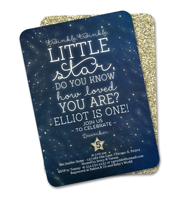 Twinkle Twinkle Little Star First Birthday Invitation Twinkle Twinkle Little Star Do You Know How Loved You Are? Any Event