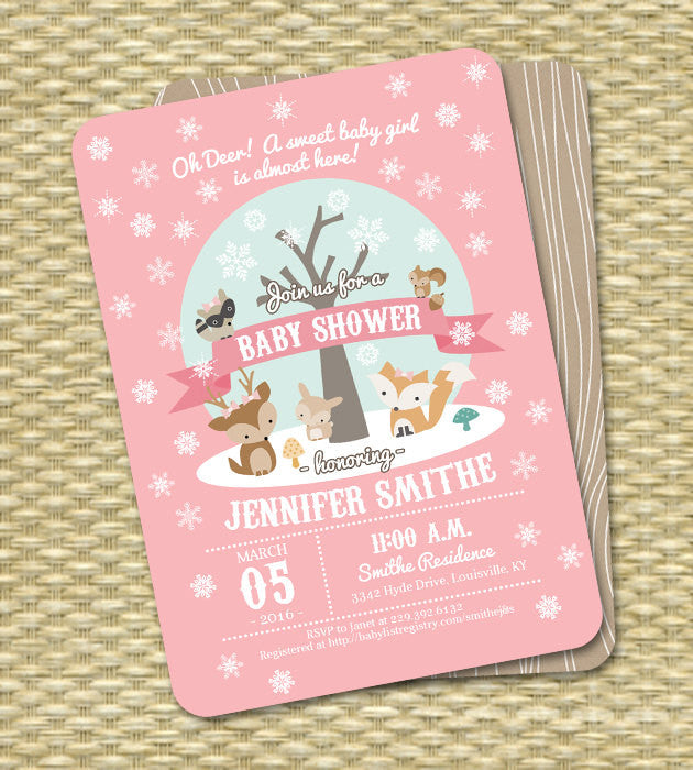 Winter Woodland Baby Shower Invitation Winter Baby Shower Woodland Animals Little Deer Baby Shower Invite Baby Boy Baby Boy Gender Neutral