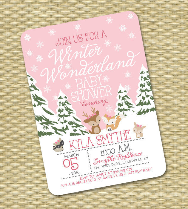 Winter Wonderland Baby Shower Baby Girl Shower Winter Baby Shower Invitation  Pink Snowflakes Woodland Animals Diaper Shower Sip And See