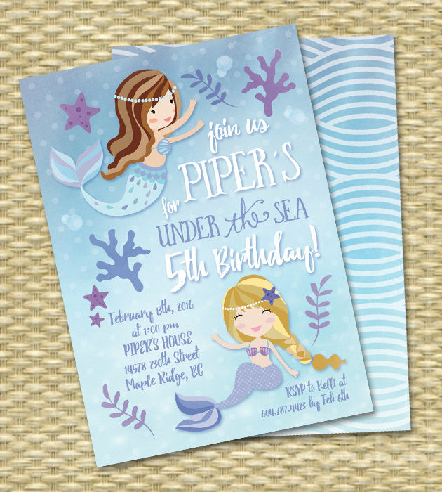 Mermaid Birthday Invitation Under the Sea Birthday Mermaid Party Invitation Any Age Any Color Scheme