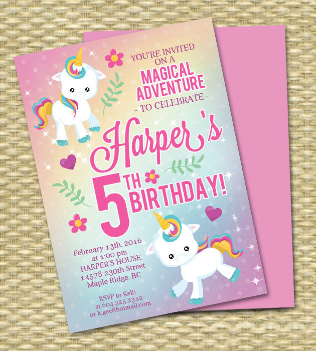 Unicorn Birthday Invitation Party Rainbow 5th Any Age Colors