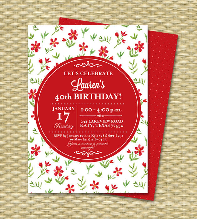 50th Birthday Invitation Red White Floral Typography Spring Floral Invitation Any Age ANY EVENT