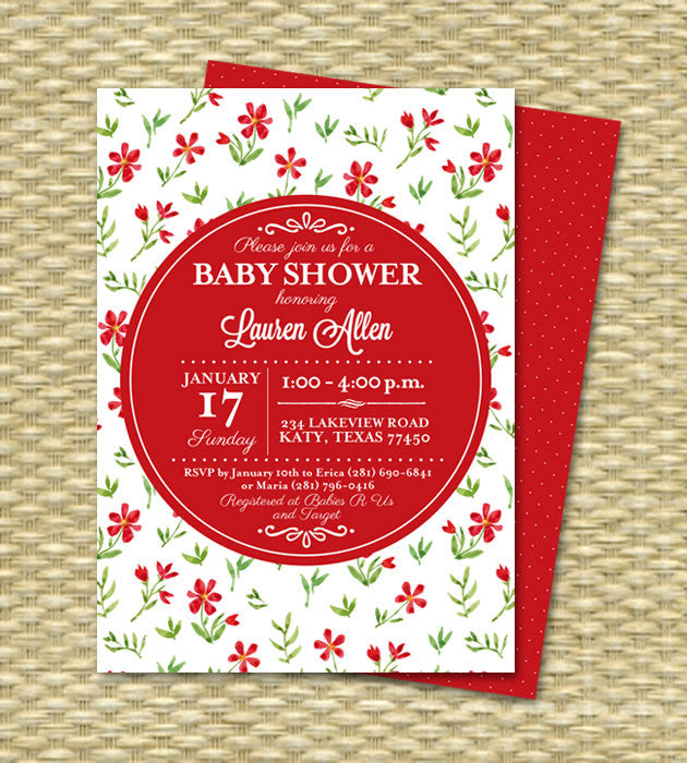 Baby Shower Invitation Gender Neutral Baby Shower Invite Red White Floral Typography Spring Floral
