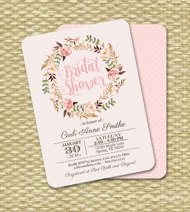 Bridal Shower Invitation Printable Invitation or Printed Watercolor Roses Bridal Brunch Bridal Tea ANY EVENT