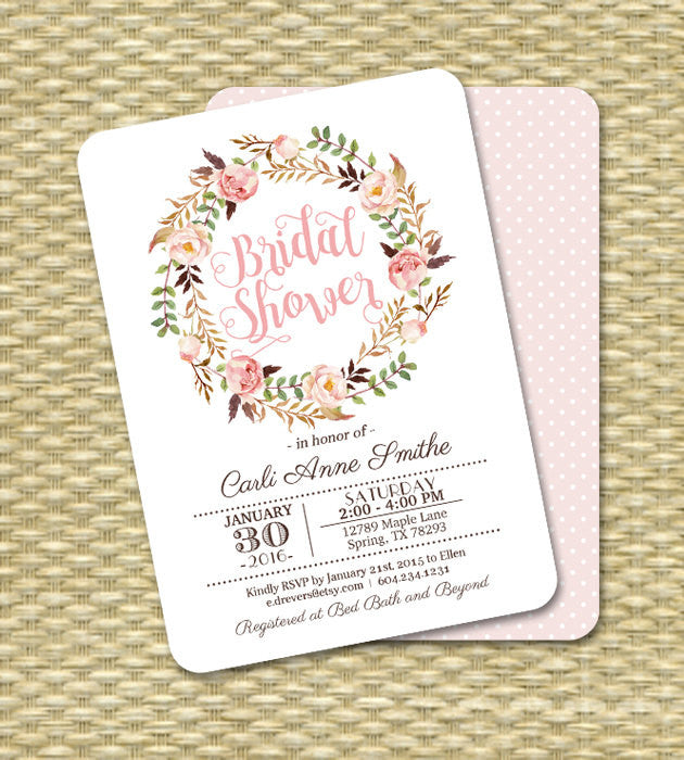 Printable Bridal Shower Invitation Watercolor Roses Floral Typography Bridal Shower Blush Pink Rose Peach Bridal Tea ANY EVENT