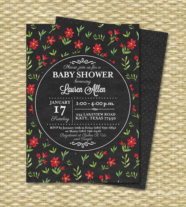 Printable Bridal Shower Invitation Chalkboard Floral Bridal Tea Spring Bridal Shower Red Black Floral Typography Bridal Brunch ANY EVENT