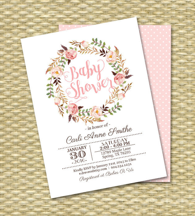 24386250ee3f3 Baby Girl Shower Invitation Boho Baby Shower Blush Pink Printable Baby  Sprinkle Any Event PRINTING AVAILABLE