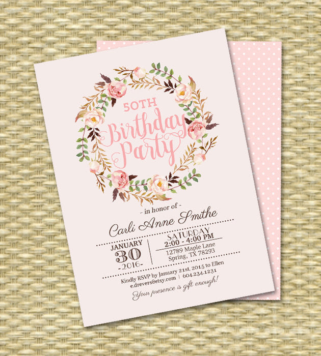 Adult Birthday Invitation Watercolor Floral Birthday Invite Milestone Birthday Printable or PRINTED
