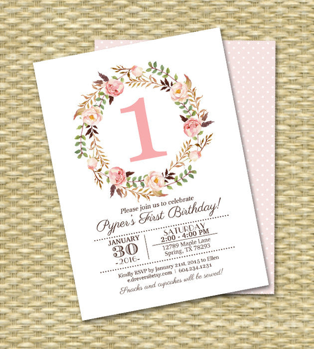 1st Birthday Invitation Girl Baby Pink Watercolor Floral Printable Kids Any Age