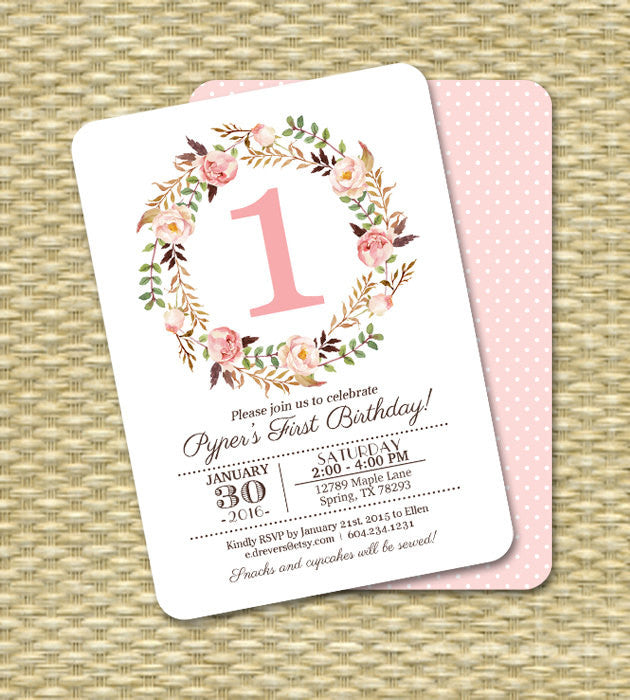 1st Birthday Invitation Girl Baby Girl Pink Watercolor Floral