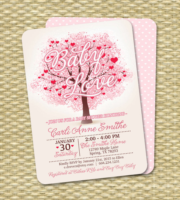 Baby Girl Shower Invitation Baby Love Shower Invitation Valentine's Baby Shower Printable or Printed