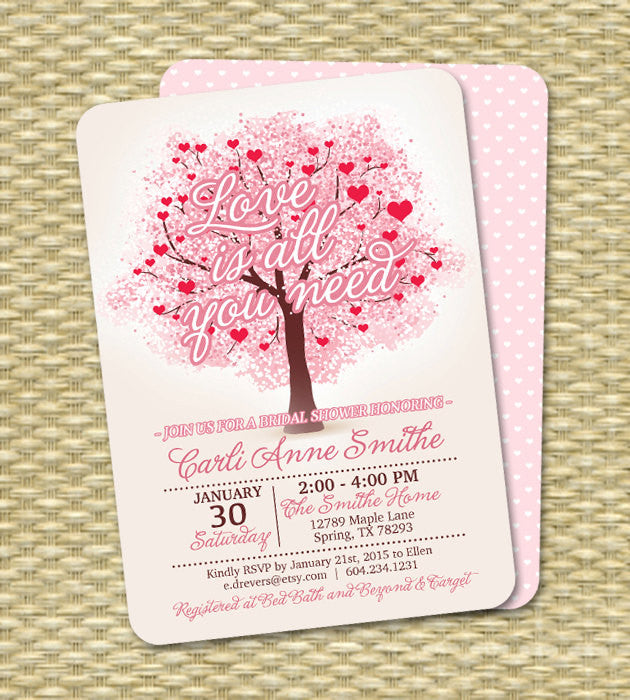 Bridal Shower Invitation Wedding Shower Invite Valentine's Invite Any Event Printable or Printed