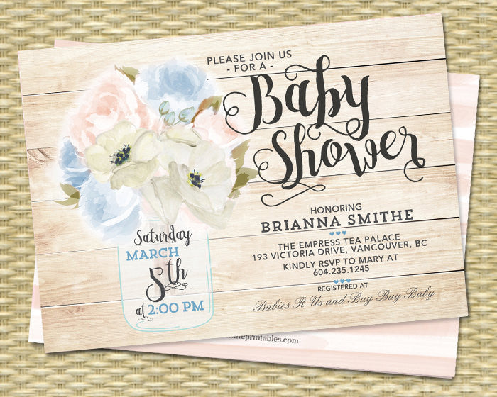 Bridal Shower Invitation Mason Jar Floral Blush Pink Peonies Ivory Cream Soft Blue Rustic Bridal Shower Invite ANY EVENT