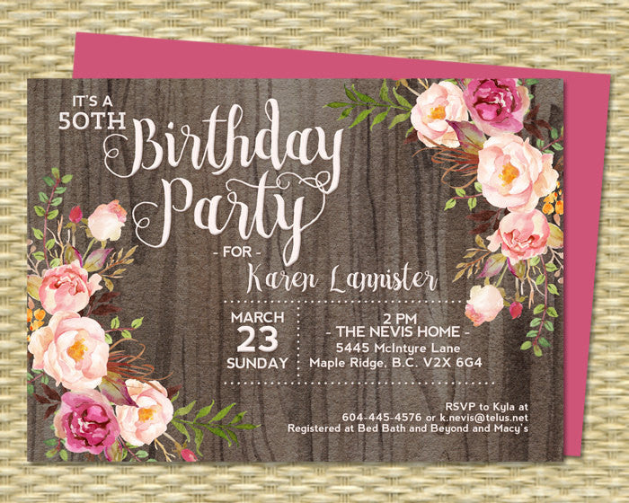 50th Birthday Invitation Rustic Watercolor Dark Wood Roses Peonies Pink Blush Raspberry Floral Any Event