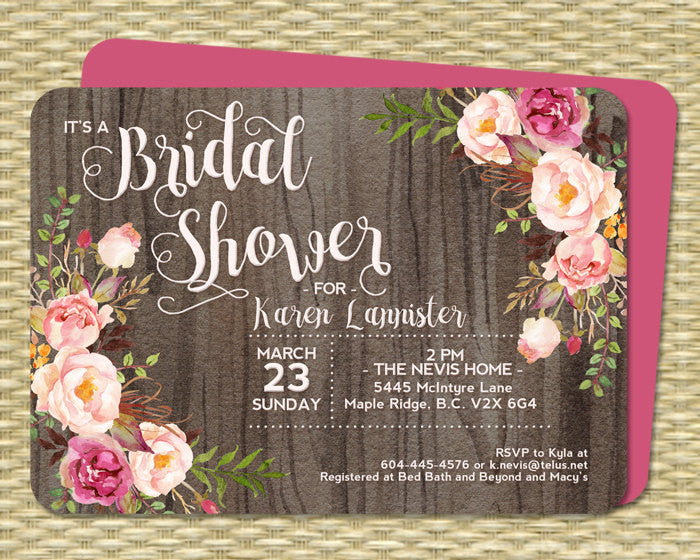 Bridal Shower Invitation Rustic Watercolor Dark Wood Roses Peonies Pink Blush Raspberry Floral Couples Shower Any Event