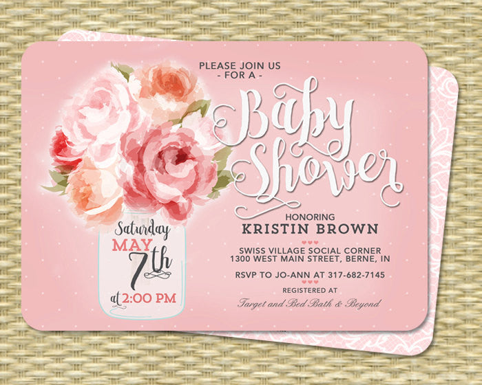 Gender Neutral Baby Shower Invitation Mason Jar Floral Pink Peonies Baby Tea Sip and See Invite Pink Peach Mint ANY EVENT