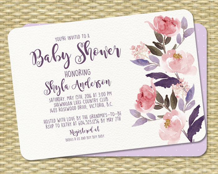 Watercolor Floral Birthday Invitation 50th Rustic Boho Party Peonies Shyla Any Age Event
