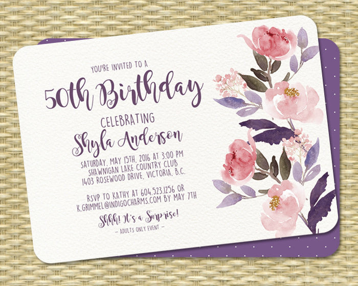 Watercolor Floral Birthday Invitation 50th Birthday Rustic Boho Party Invitation Peonies Shyla Any Age Any Event