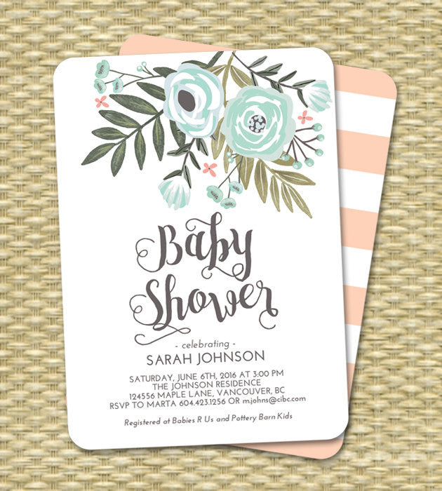 Baby Girl Shower Invitation Floral Pink Blush Mint Baby Shower Sip and See Diapers and Wipes ANY EVENT