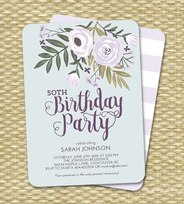 Printable Adult Birthday Invitation Lavender and Blue Floral 50th Birthday ANY EVENT Printing Available