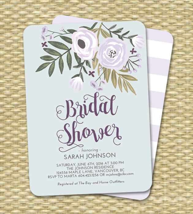 picture relating to Printable Bridal Shower Invitations named Printable Bridal Shower Invitation Lavender and Blue Floral Bridal Shower Bouquets Printing Out there
