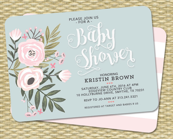 Bridal Shower Invitation Bridal Shower Invite Floral Bridal Shower Flowers Blush Pink Blue Wedding Shower ANY EVENT