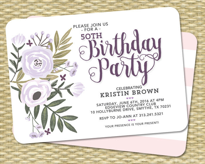 Baby Shower Invitation Gender Neutral Baby Shower Invite Floral Baby Shower Flowers Lavender Sip and See ANY EVENT
