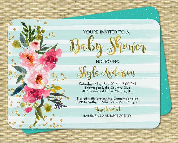 Watercolor Peony Baby Shower Invitation Gold Foil Gold Glitter Pink Hot Pink Teal Aqua Baby Shower Invite