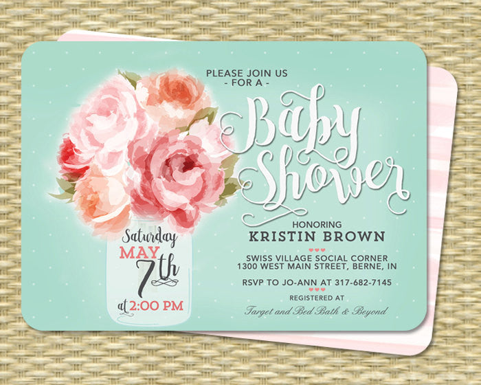 Bridal Shower Invitation Mason Jar Floral Pink Peonies Aqua Rustic Bridal Shower Invite Pink Peach ANY EVENT