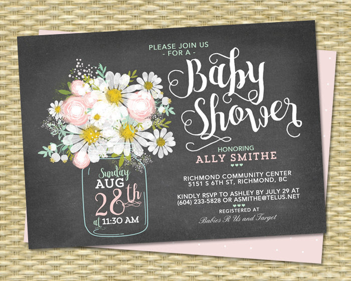 Gender Neutral Chalkboard Baby Shower Invitation Daisy Mason Jar Blush Pink Mint Green ANY EVENT