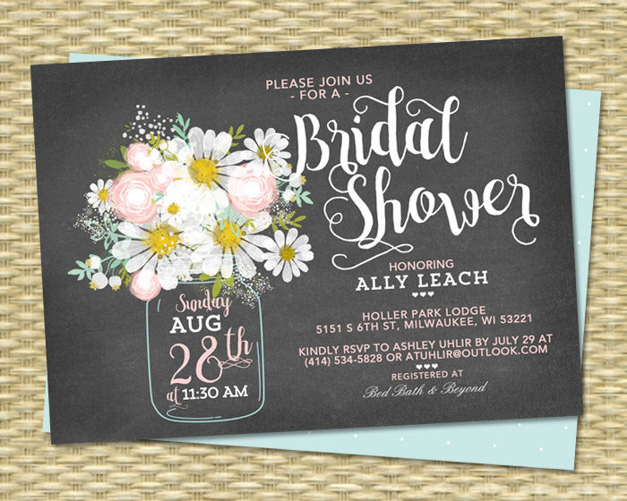 Chalkboard Bridal Shower Invitation Mason Jar Daisies Blush Pink Mint Green Bridal Brunch Bridal Tea ANY EVENT