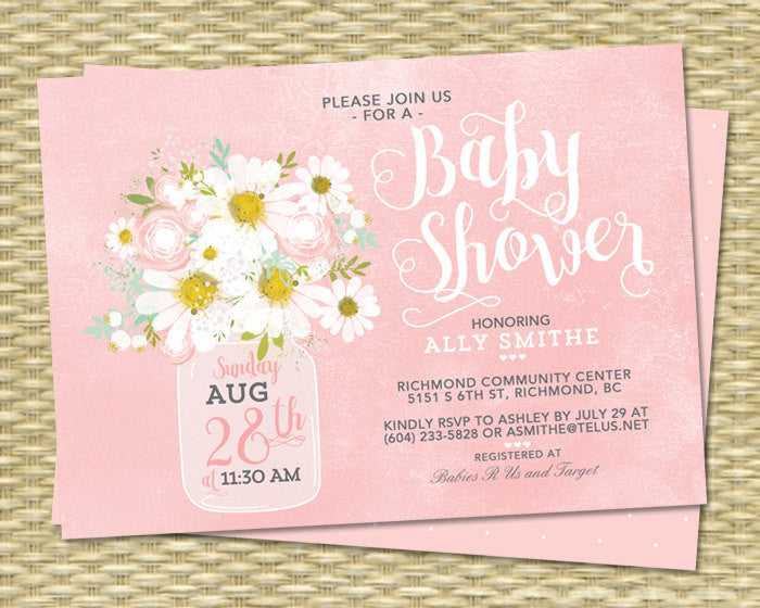 Country Baby Shower Invitation Baby Girl Pink Floral White Daisies Mason Jar Mint Green Baby Sprinkle ANY EVENT