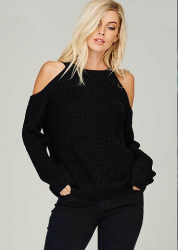 Sweet Staple Cold Shoulder Sweater