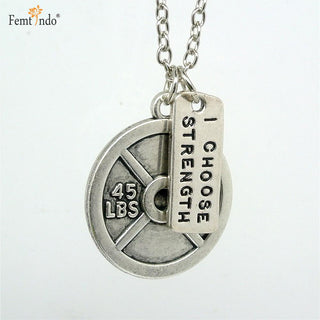 I Choose Strength Antique Silver Plated Dumbbell and Plate Pendant and Chain - StrengthBand.com