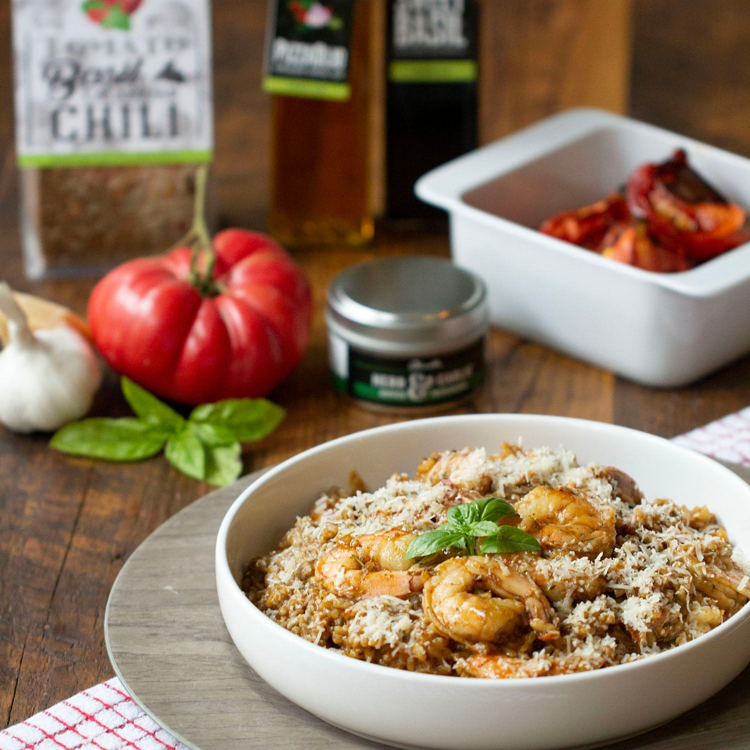 Tomato Basil and Calabrian Chili Risotto with Shrimp
