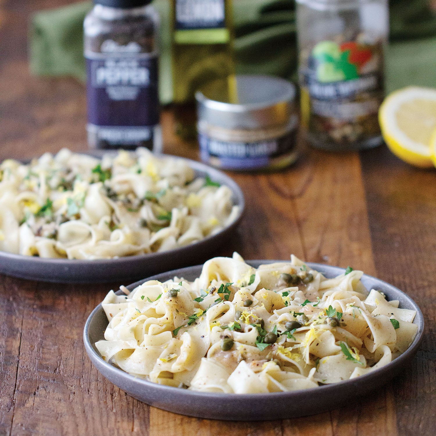Lemon & Pepper Pasta with a Lemony White Wine Sauce