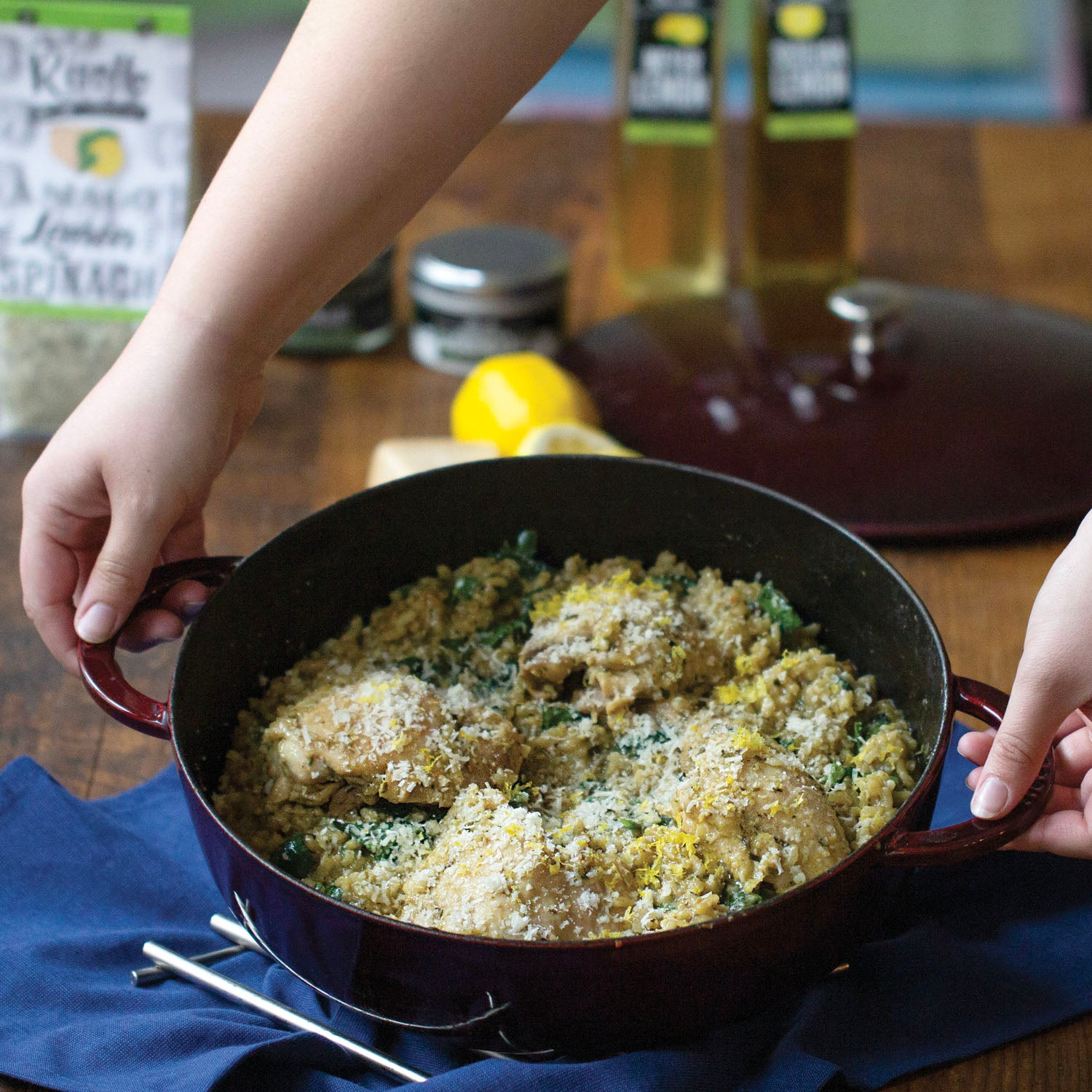 Asiago Lemon Spinach Risotto with Braised Chicken Thighs